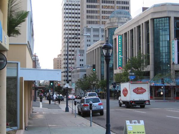 Walking south along Sixth Avenue in downtown San Diego, approaching Ash Street.