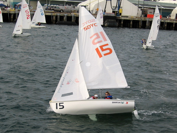 A team that competed in College Sailing's ICSA Women's Semifinals starts back across San Diego Bay before night falls.