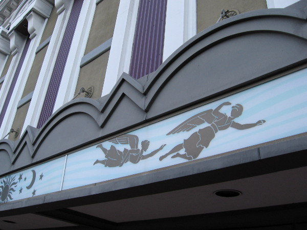 Angels in flight on rear of the now closed Gaslamp movie theater.