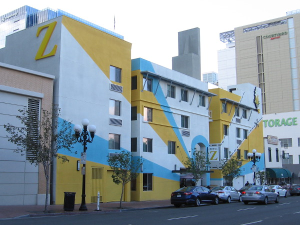Hotel Z really really catches the eye with that flamboyant paint job. According to their website, their slogan is A Piece of Pineapple Hospitality.