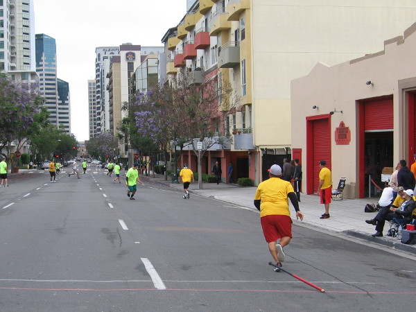 Another hit! Fans go wild! A downtown San Diego street makes for a very unusual stadium.