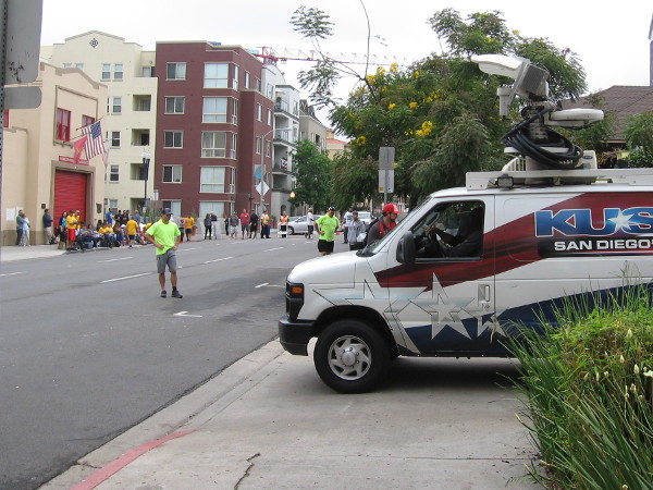 Another time out! The KUSI television van is leaving the scene. They had several live shots of the local stickball tournament this morning.