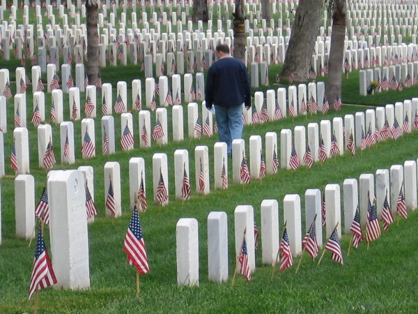 Walking among silent rows of white. Many gave the ultimate sacrifice for their nation.