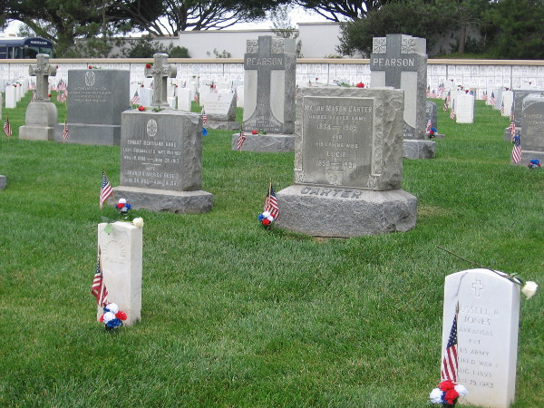 Many old granite markers at Fort Rosecrans National Cemetery recall decades and centuries of history.