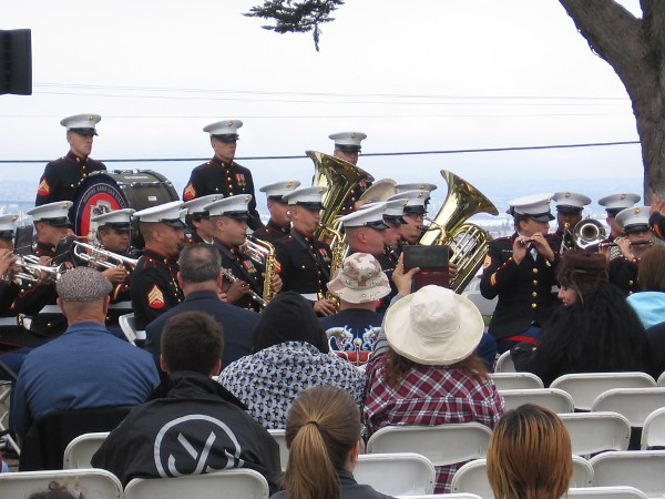 While people take their seats before the opening and introduction, Marine Band San Diego provides music.