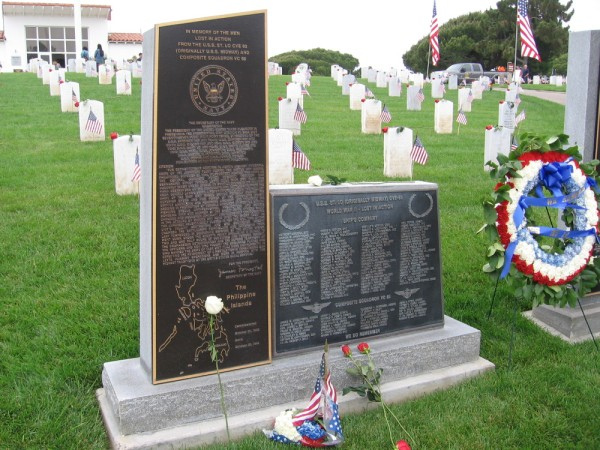 Several monuments near the cemetery entrance memorialize tragic events in U.S. military history, including ships lost in action.