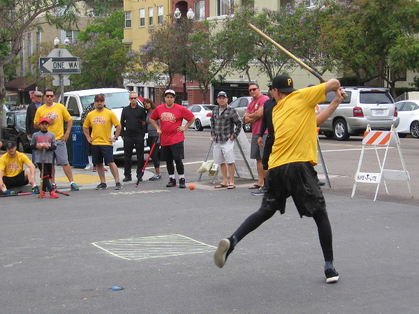 Watching a Memorial Day weekend game of stickball in San Diego's Little Italy.