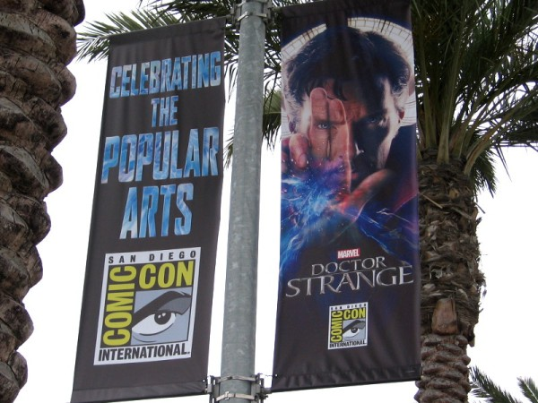Doctor Strange street lamp banners have appeared along the Embarcadero more than a month before the start of 2016 San Diego Comic-Con.