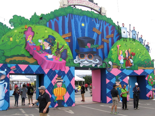 Just inside the O'Brien Gate at the 2016 San Diego County Fair. This year's theme is Alice in Wonderland.