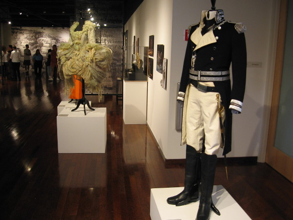 Costumes used in the production of Shakespearean plays are displayed at the First Folio exhibit in the San Diego Central Library art gallery. To the right is a costume worn by Othello.