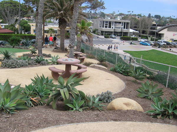 Picnic tables along a path leading up through Overlook Park in Solana Beach feature more beautiful, sea-themed tile mosaics.