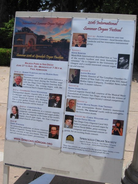 The 2016 International Summer Organ Festival in Balboa Park's Spreckels Organ Pavilion will feature some of the world's great organists! If you've never been to this event, time to go check it out!