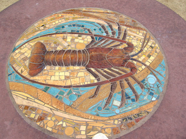 A spiny lobster embedded in a picnic table at Overlook Park.