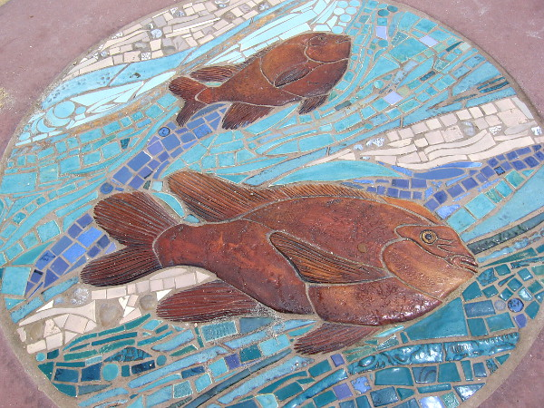 Two beautiful fish are part of some sea-themed art in Solana Beach, created by artist Betsy Schulz.