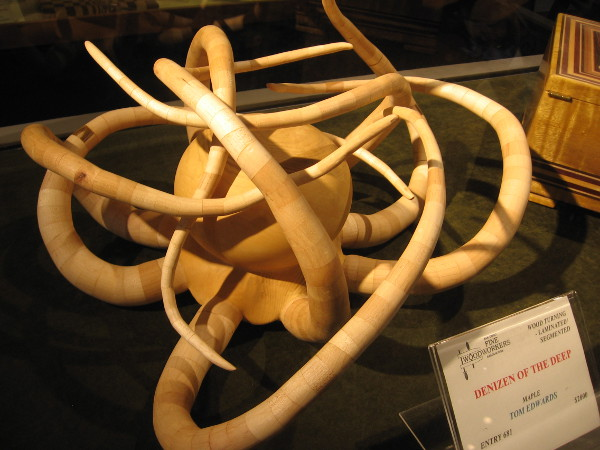 A very cool tangle-tentacled wooden octopus. Denizen of the Deep, Maple, Tom Edwards.