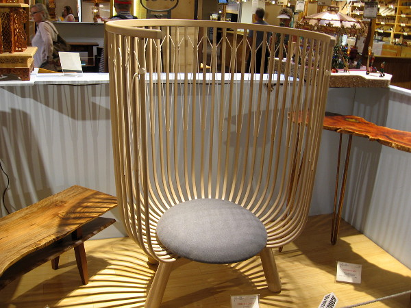 A wonderfully inventive piece of furniture. Birdcage Chair, White Oak, Patrick Atangan.