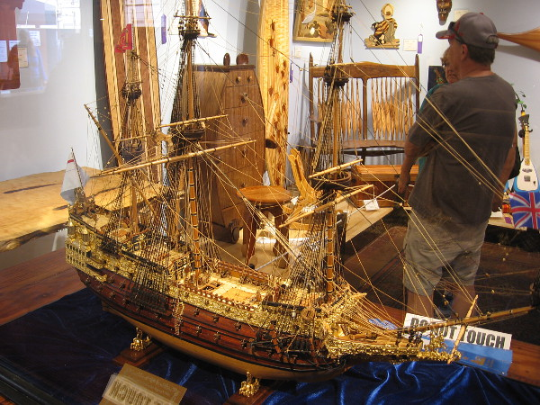 This might be the most intricate model tall ship I ever saw. Sovereign of the Seas, Boxwood, Mahogany, Ebony, Sycamore, William Norris.
