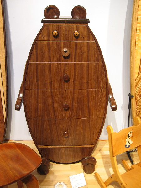 A fun chest of drawers perfect for a kid's room. Buddy Bear, Walnut, Ralph Crowther.