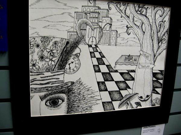 A high school pencil drawing of an imaginative Wonderland.