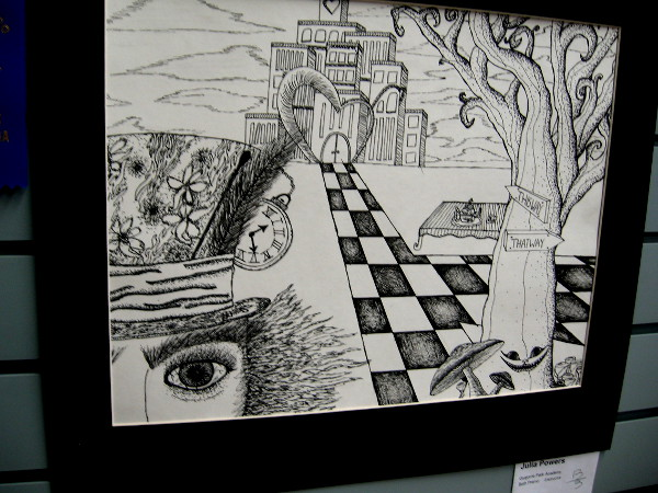 A high school pencil drawing of an imaginative Wonderland.