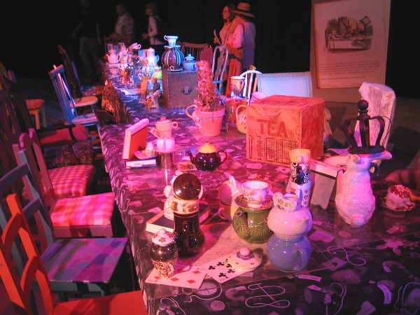A super long table in the exhibit was set for an epic tea party!