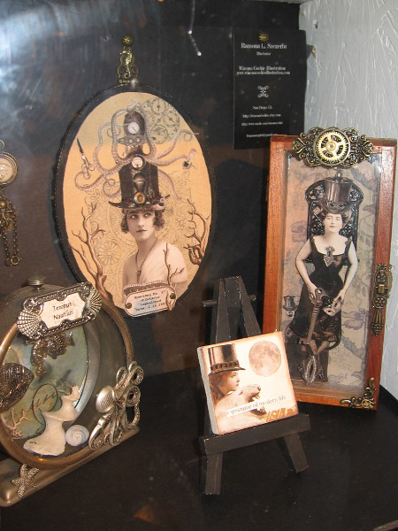 A whole variety of displays paid homage to the Steampunk genre. Here are some Victorian ladies in cool steampunk top hats.