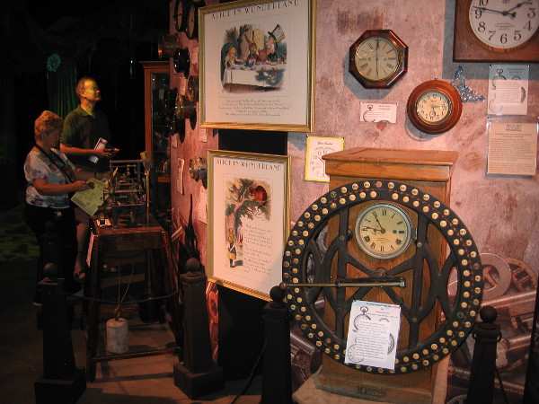 Clocks seem to be a common Wonderland motif. All sorts of fun old clocks were displayed on this wall. I didn't see the White Rabbit's pocket watch.