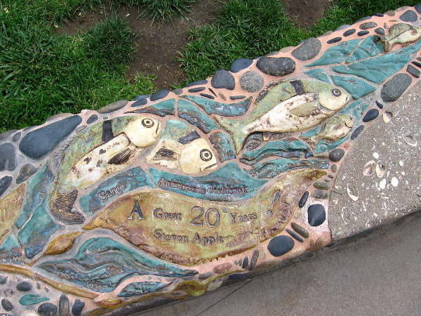 More ceramic fish along the public walkway that heads down through Fletcher Cove Park to the small beach.