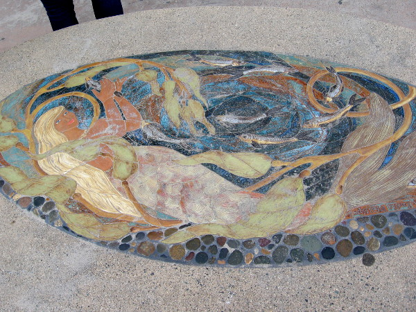 And here is the mermaid. The stunning mosaic artwork has been worn by sand and time.