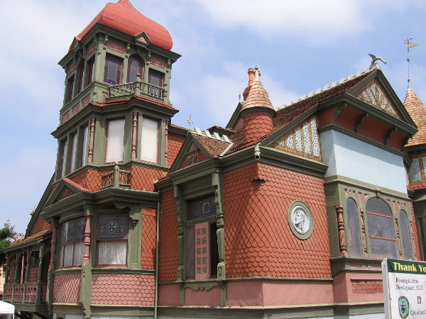 Photo of southeast corner of the Villa Montezuma Museum. The 1887 Queen Anne Victorian mansion contains numerous beautiful stained glass windows.