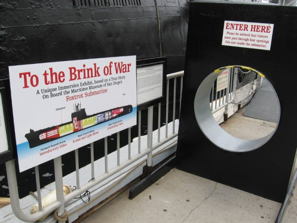 Sign shows main parts of the museum's current Cuban Missile Crisis exhibit. Inside the sub, one must nimbly climb through small circular openings!