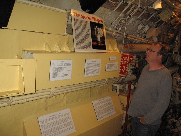 Just inside the old Soviet sub. There's a video explaining the Cold War and beginning of the Cuban Missile Crisis, and many signs nearby. The B-59 was armed with a Special Weapon--one nuclear torpedo.