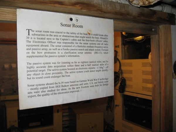 The sonar room was critical to the safety of the submarine. Without sonar, the underwater vessel had no eyes.
