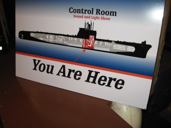 Signs throughout the Maritime Museum of San Diego's Cuban Missile Crisis exhibit help visitors understand their position in the Foxtrot submarine.