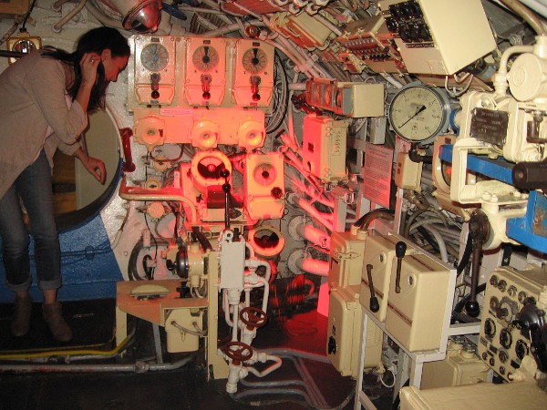 Photo includes the Foxtrot's helm, where a Soviet sailor steered the submarine by moving a lever left and right.