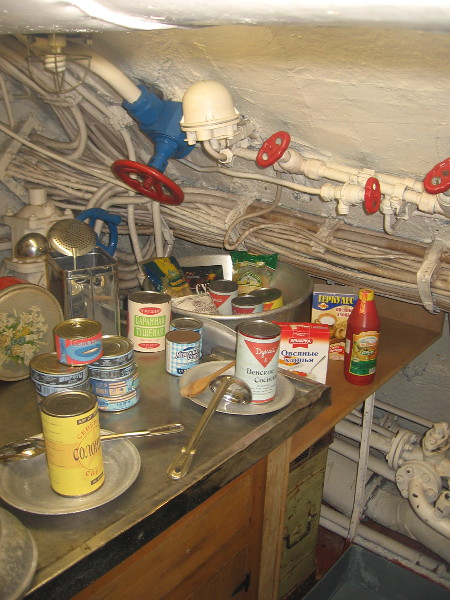 We've left the Control Room and are continuing along the center of the submarine. Here's part of the galley. The crew ate well by Soviet standards.