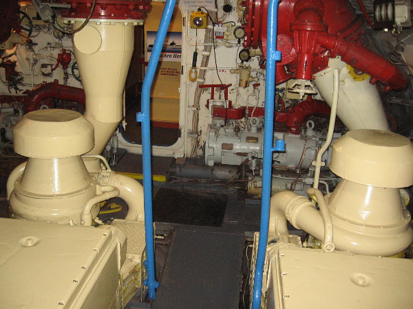 Another photo inside the museum's B-39 engine room. During the 1962 events, the B-59's batteries were low and the air conditioning had failed. Their hot engine room must have been intolerable.