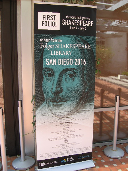 First Folio! is on tour from the Folger Shakespeare Library in Washington, DC. I was informed they own about one third of the 233 known existing rare books.