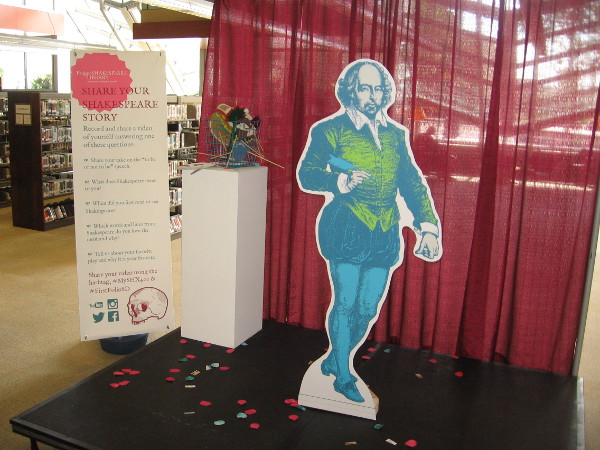 Library patrons are encouraged to take a pic with The Bard and share their personal Shakespeare story on social media.