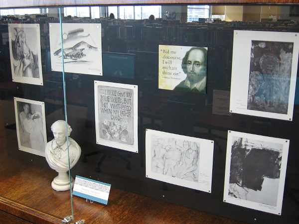 Several displays in the Hervey Family Rare Book Room include Imagining Shakespeare, drawings by the Cal State Long Beach Art Department Faculty.