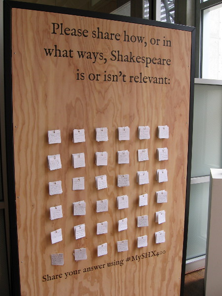 Visitors entering and leaving the library's art gallery are asked to share how, or in what ways, Shakespeare is or isn't relevant.