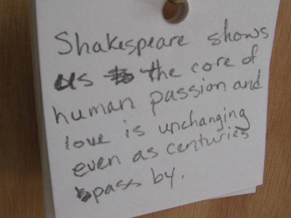 Shakespeare shows us the core of human passion and love is unchanging even as centuries pass by.