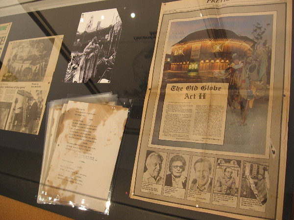 Newspaper articles cover how the Old Globe Theatre burned down in 1978 due to arson, then was rebuilt. Pages from a script of Hamlet were recovered from the fire.