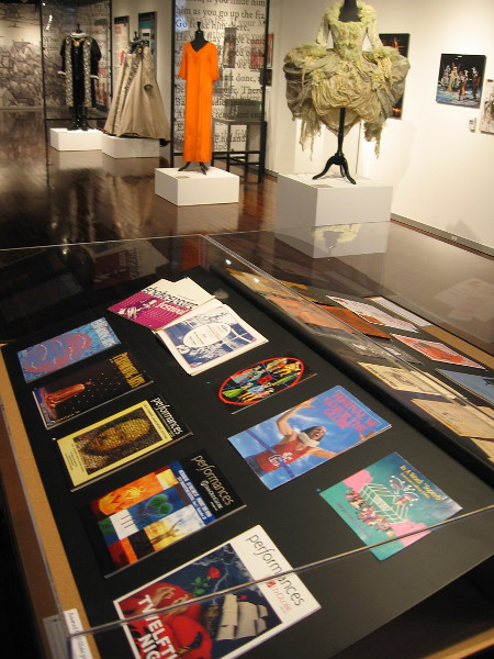 One display case at the First Folio exhibit contains assorted Old Globe programs and publications from 1935 to today.
