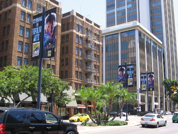 Now that San Diego Startup Week is over, the Doctor Strange street lamp banners have been hung throughout downtown--in the Gaslamp, by the convention center, along Broadway and the Embarcadero.