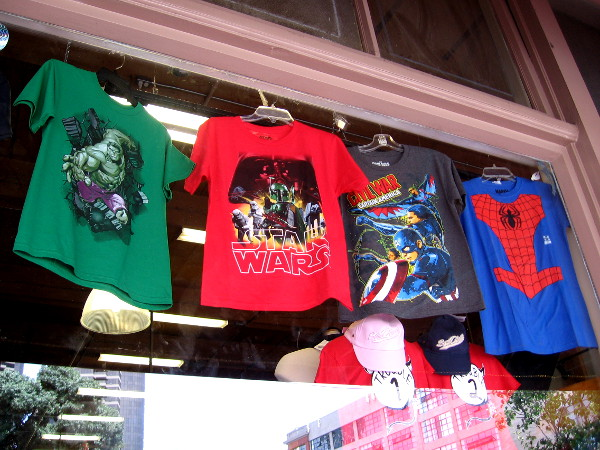 Many shops in the Gaslamp and Horton Plaza have placed pop culture and superhero gear in their windows, in anticipation of Comic-Con.