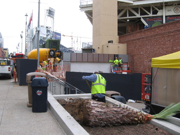 Construction along the walkway behind left field's videoboard. San Diego's Petco Park is being readied for baseball's Midsummer Classic.