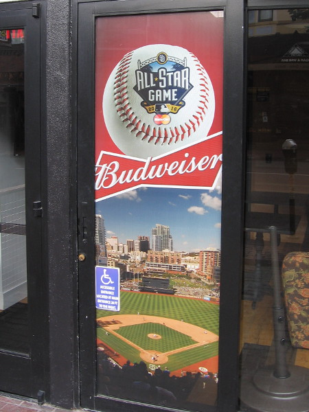 All-Star Game posters and advertisements have begun to appear in windows around Petco Park and San Diego.