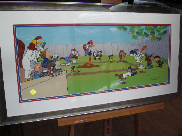Some wacky cartoon art in the Gaslamp's famous Chuck Jones Gallery. A baseball game is being played by favorite animated characters, including Bugs Bunny and Daffy Duck!