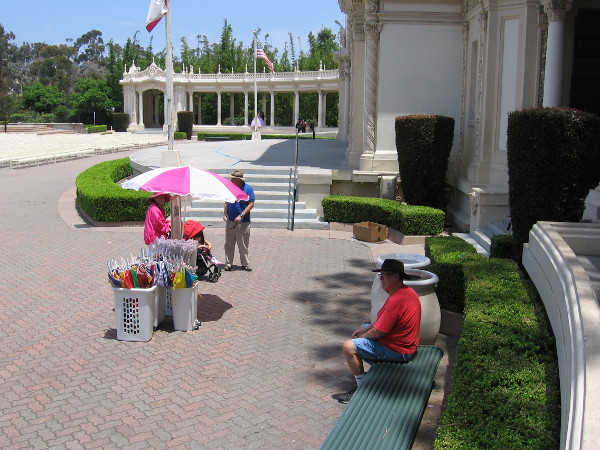 About an hour to go before the free Sunday afternoon concert at 2 o'clock. The Spreckels Organ Pavilion is home to the world's largest outdoor organ and brilliant Civic Organist, Dr. Carol Williams!